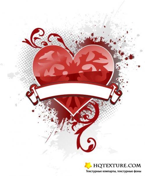Vector heart banner