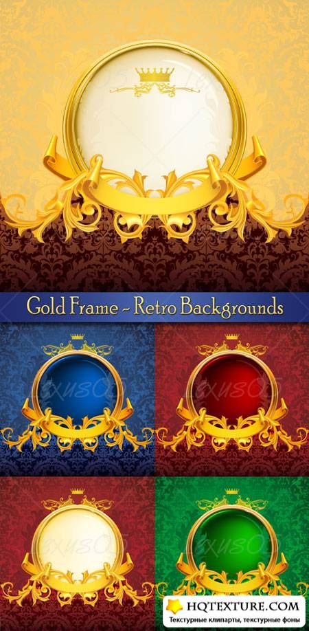 Retro Backgrounds with Gold Frame