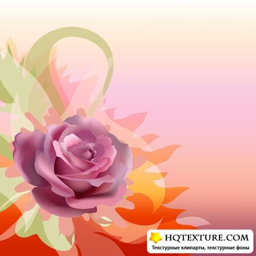 Stock Vector: Abstract background with rose | Абстрактный фон с розой