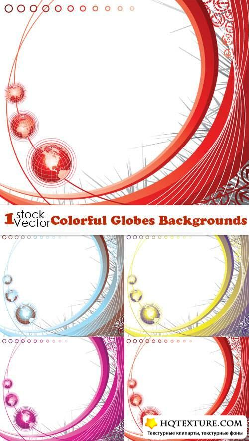 Colorful Globes Backgrounds Vector