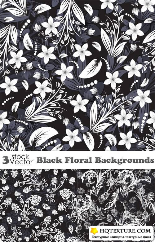 Black Floral Backgrounds Vector