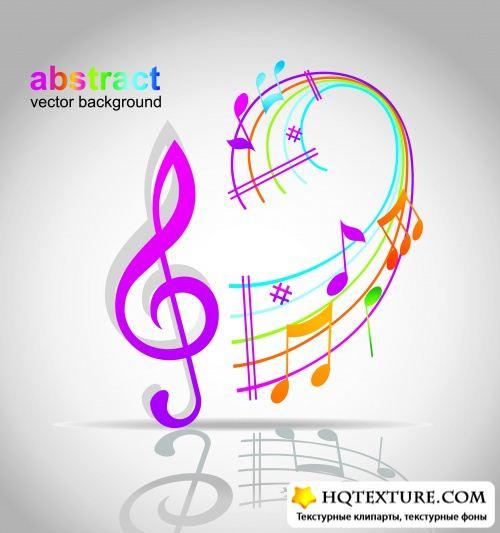Ноты, нотный стан, скрипичный ключ - музыкальный векторный клипарт.
