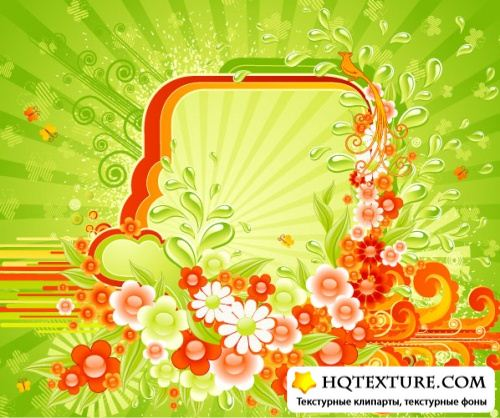 Vector backgrounds floral mix