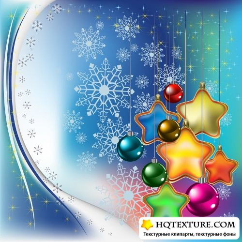 Stock Vector: Christmas backgrounds with colored stars and balls | Рождественские фоны с цветными звездами и шарами