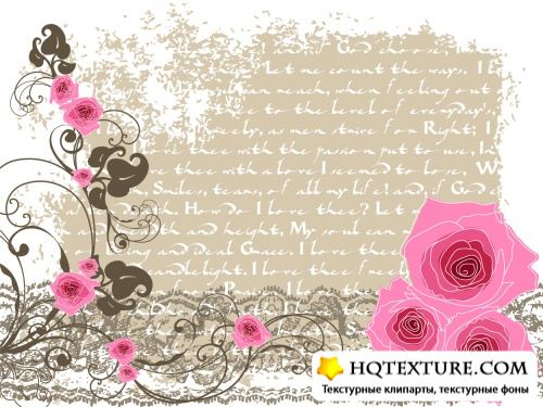 Stock: Romantic floral card with vintage flowers