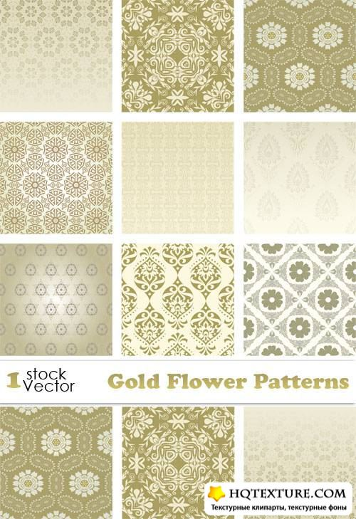 Gold Flower Patterns Vector