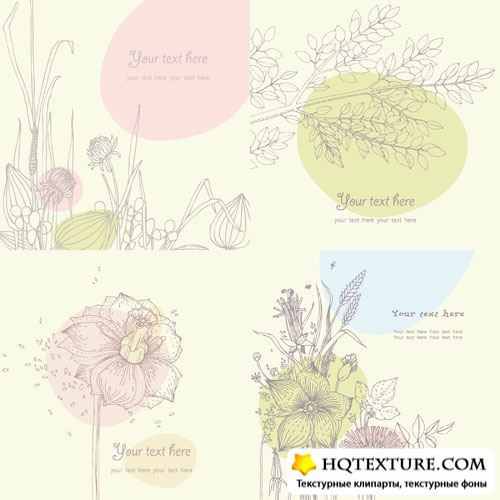 Floral vector cards 2