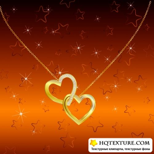Stock: Two chained golden hearts on a bright background