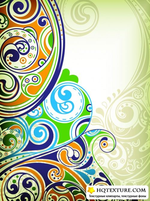 Floral Curves Backgrounds Vector