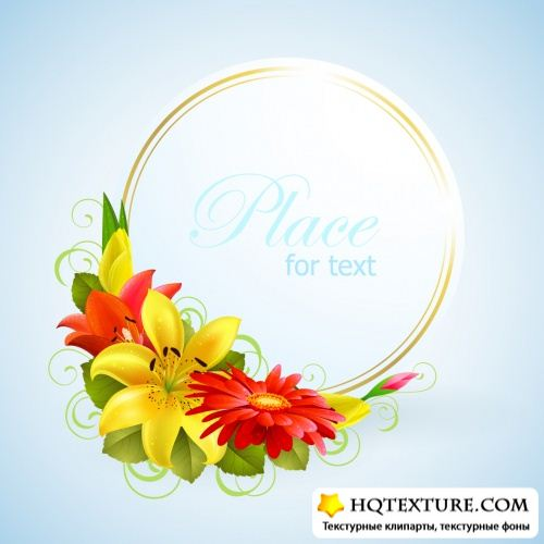 Floral Greeting Cards Vector 2