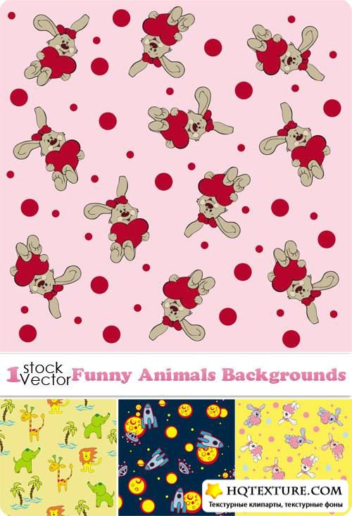 Funny Animals Backgrounds Vector