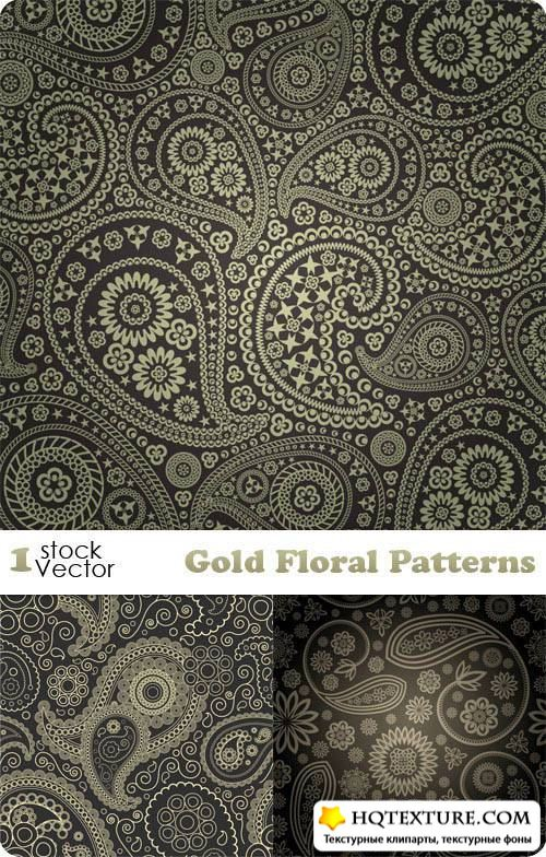 Gold Floral Patterns Vector