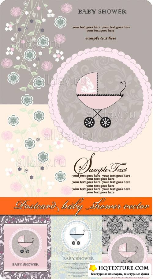 Postcard baby shower vector