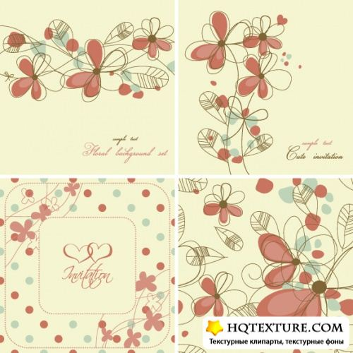 Stock Vector - Cute Floral Backgrounds