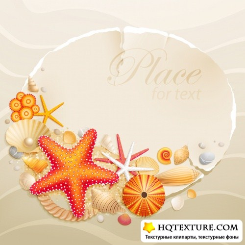 Greeting Cards with Seashells Vector