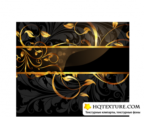 Golden decorative cards vector