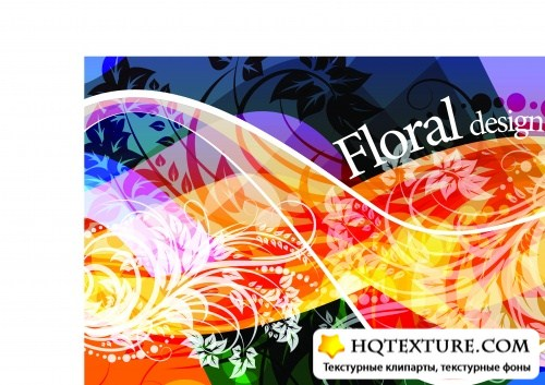 Floral abstract design vector 3