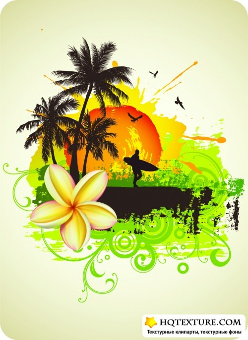 Tropical Backgrounds Vector 2