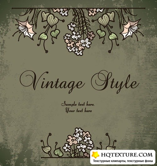 Stock Vector: Vintage background with flowers | Винтажный фон с цветами