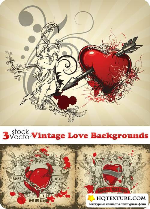 Vintage Love Backgrounds Vector