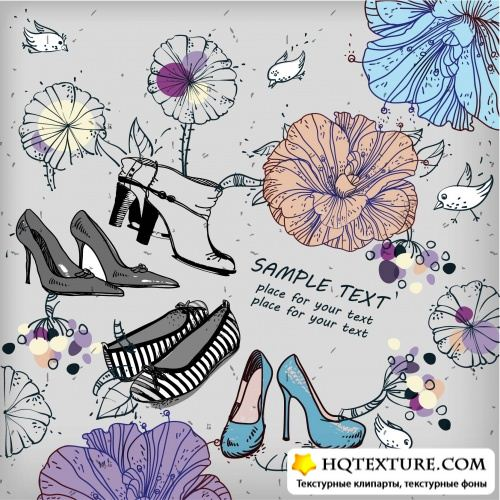 Background with flowers and fashion shoes