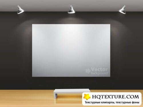 Stock Vector - Gallery Interior with Frames