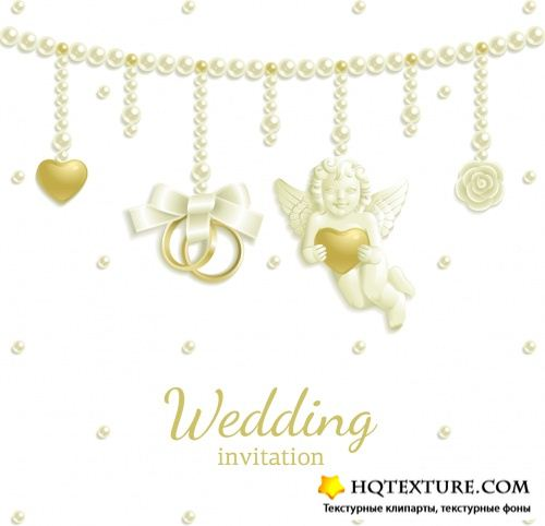 Gentle Wedding Invitations Vector