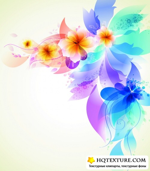 Abstract Color Flowers Vector 2