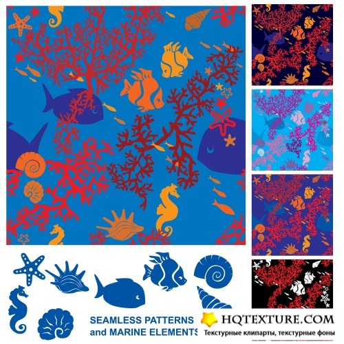 Seamless patterns with marine life