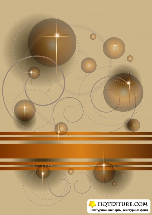 Abstract transparent balls and stars on a beige and gray background