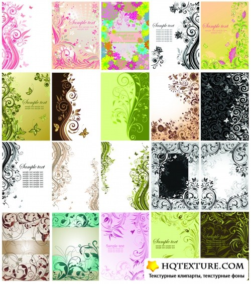 Floral Cards Vector Collection