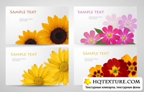 Various Flowers Banners Vector