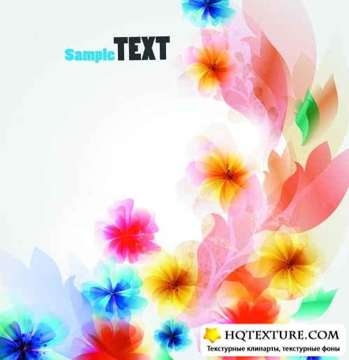 Color Abstract Flowers Banners Vector