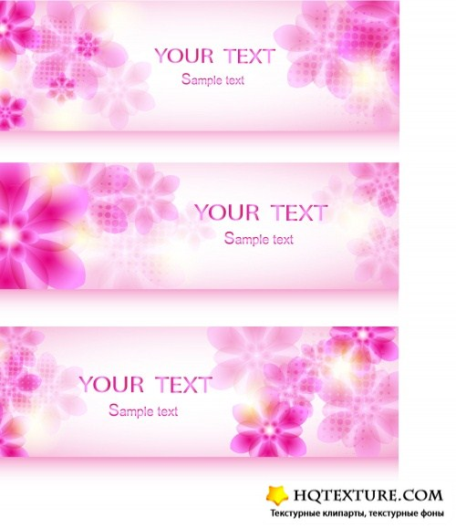 Abstract floral design banners