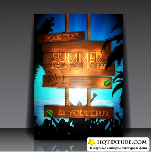 Summer Party Flyers Vector