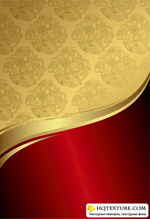 Stock: Gold and Red Floral Royal Background