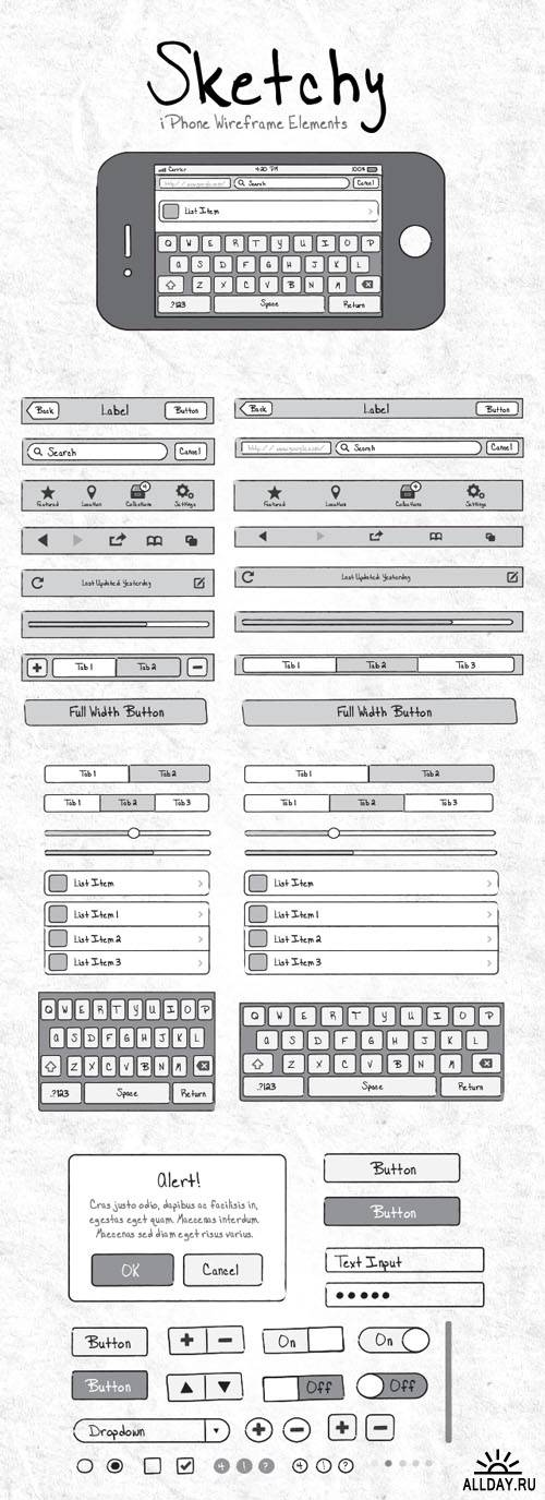 Sketchy Mobile Wireframe Elements - MediaLoot
