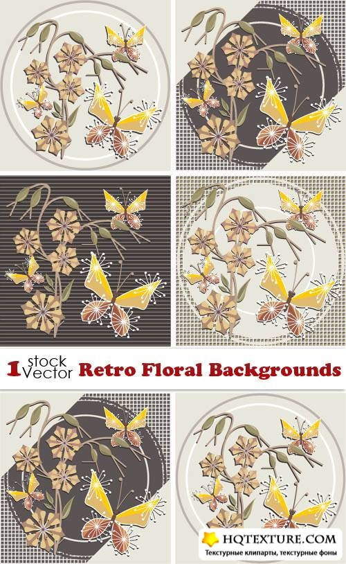Retro Floral Backgrounds Vector