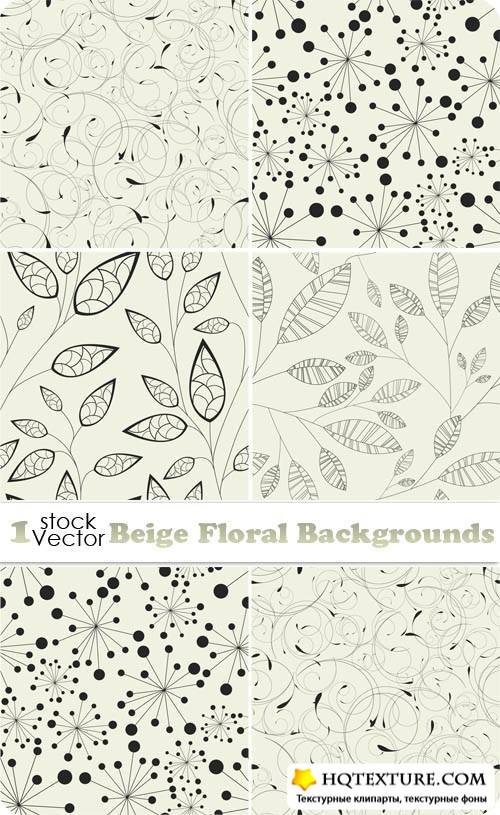 Beige Floral Backgrounds Vector