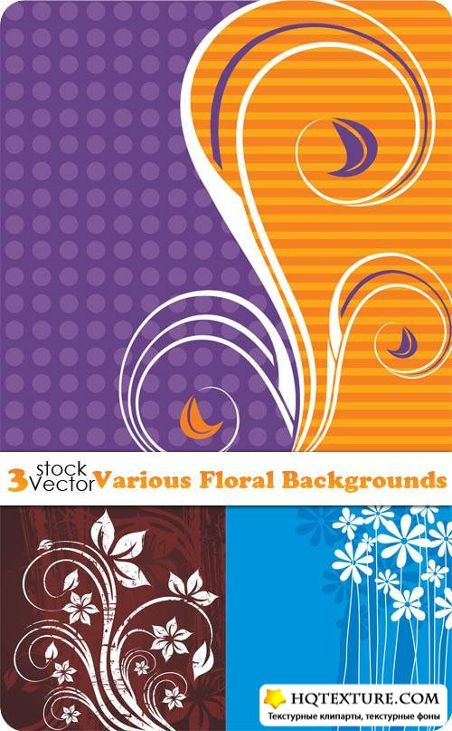Various Floral Backgrounds Vector
