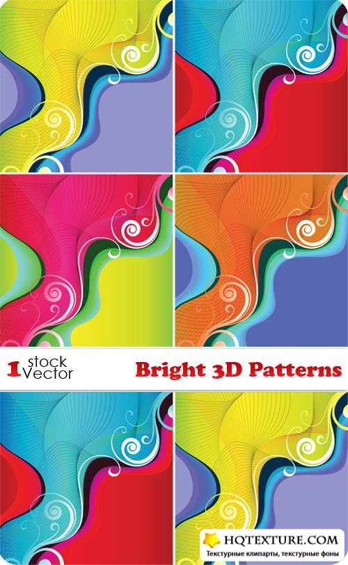Bright 3D Patterns Vector