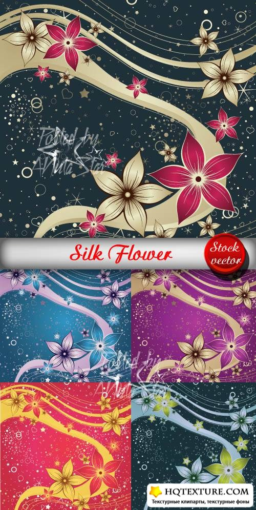 Silk Flower Vector 2  Цветы и шелк 2
