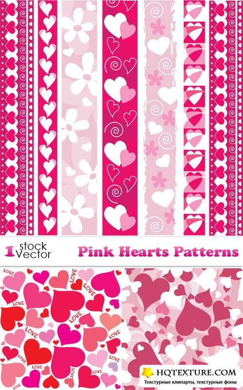Pink Hearts Patterns Vector
