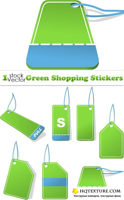 Green Shopping Stickers Vector