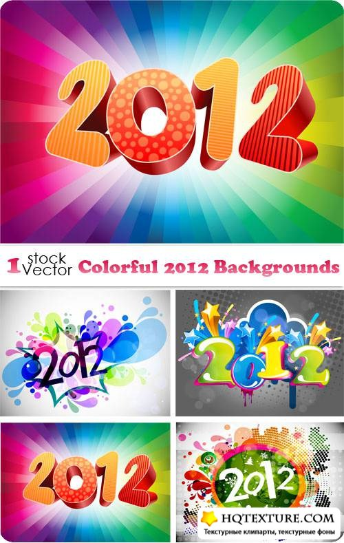 Colorful 2012 Backgrounds Vector