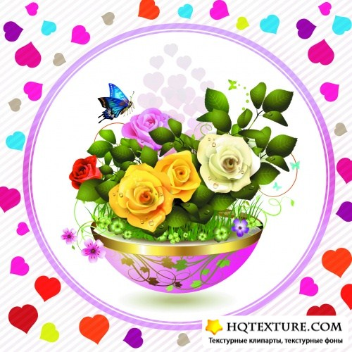 Roses Cards Vector 2