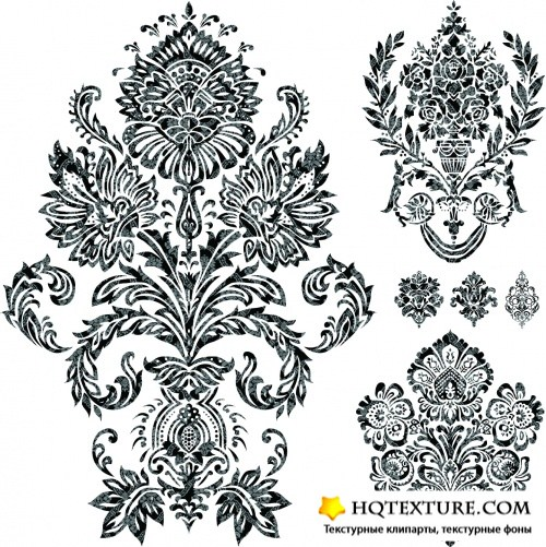 Damask Floral Decorations Vector