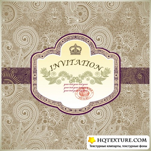 Pastel Floral Invitations Vector 2