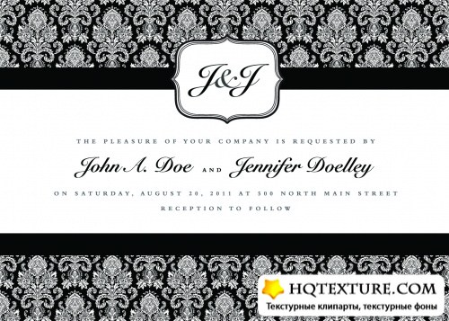 Black White Vintage Invitations Vector