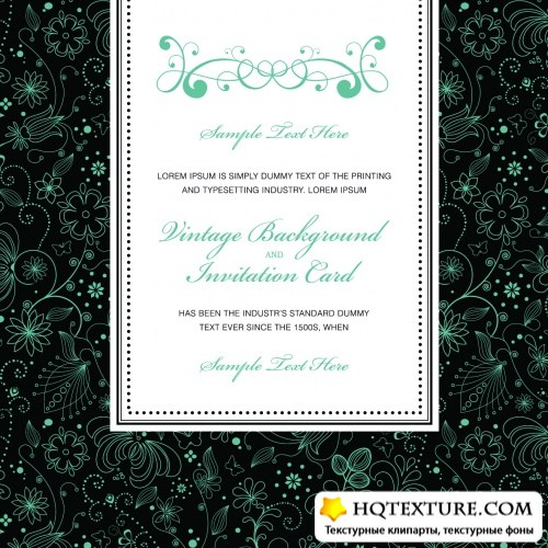 Floral Vintage Invitations Vector